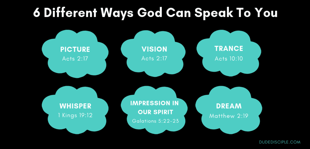diagram showing 6 different ways God speaks to you