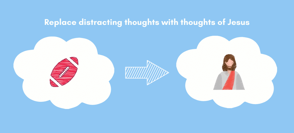 replace distracting thoughts with thoughts of Jesus